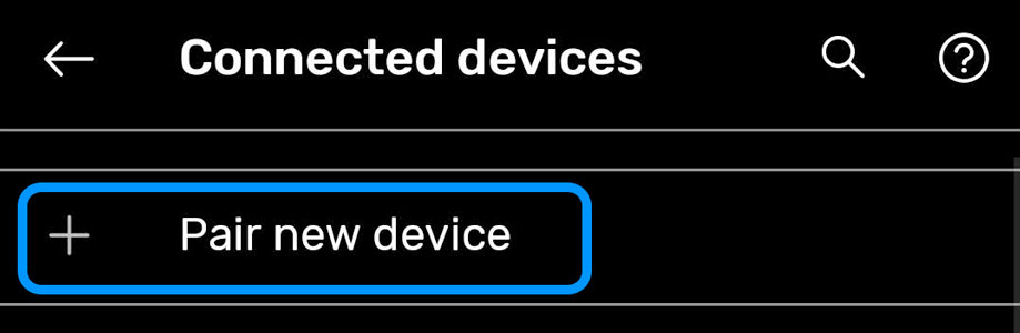 Pair New Device using Android Bluetooth settings