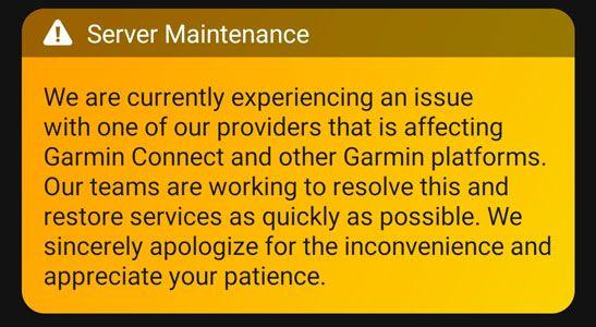 server maintenance message on Garmin Connect
