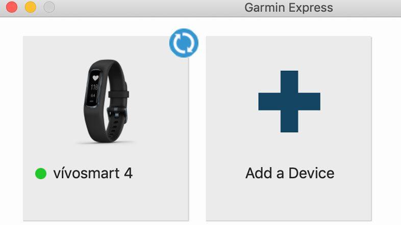 Garmin Express home menu