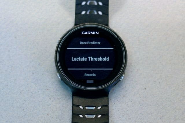 lactate threshold test on Garmin