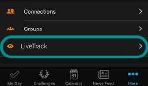 LiveTrack feature on Garmin