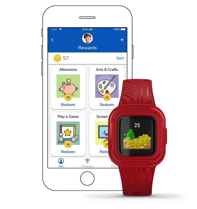 Rewards for kids inside the Garmin Jr app