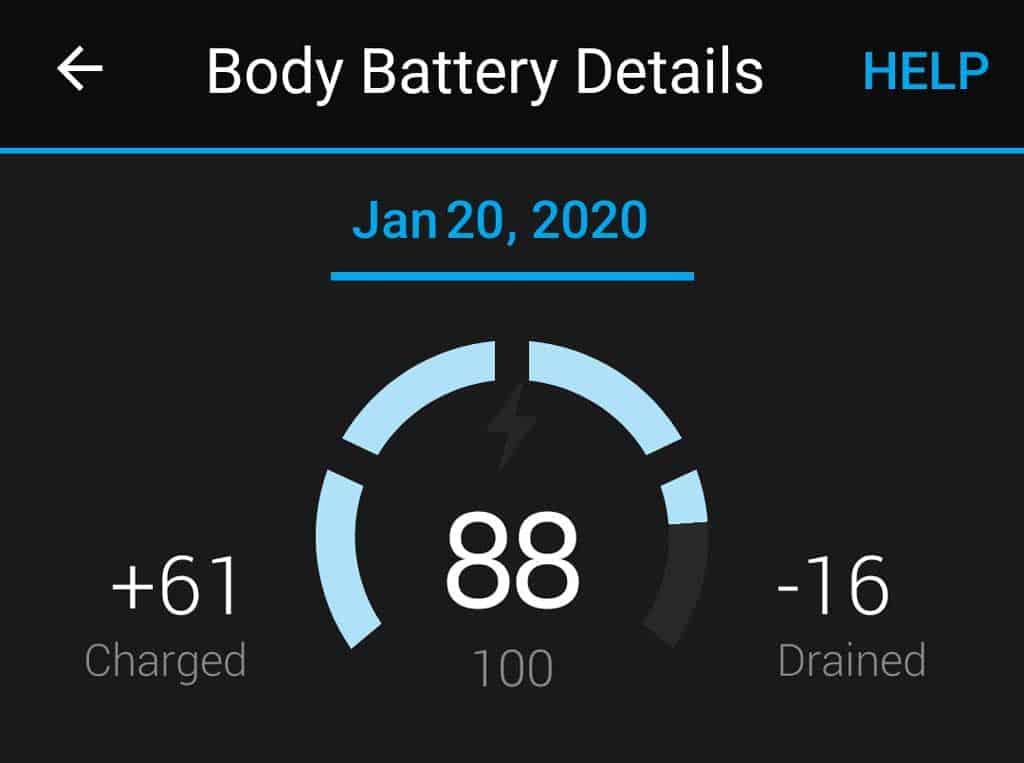 body battery Garmin
