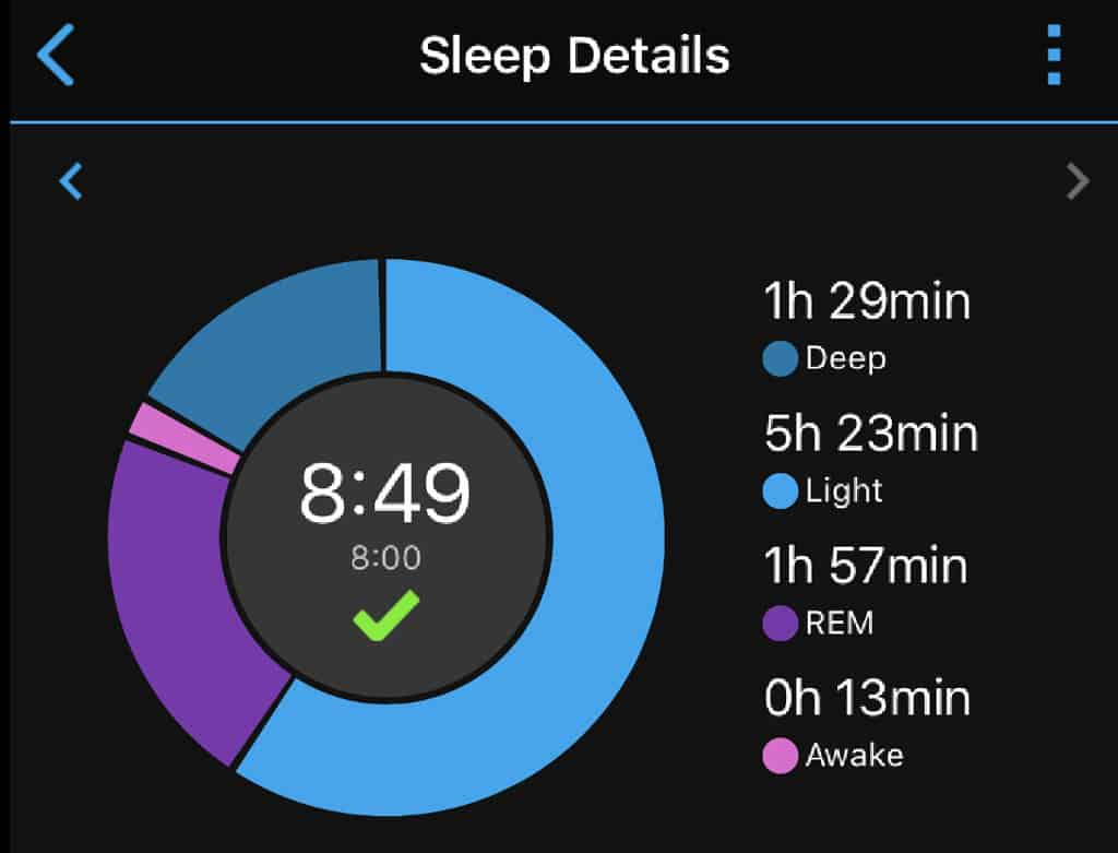 Garmin Connect app sleep details