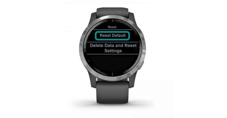 reset default settings on Garmin smartwatch