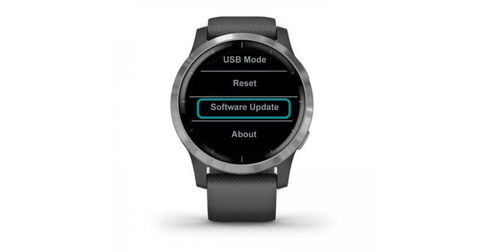 Software Update function on Garmin smartwatch