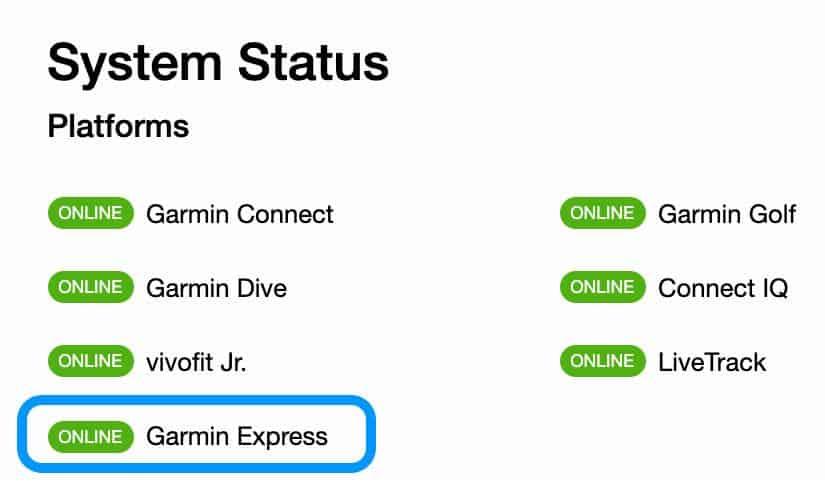 system status for Garmin