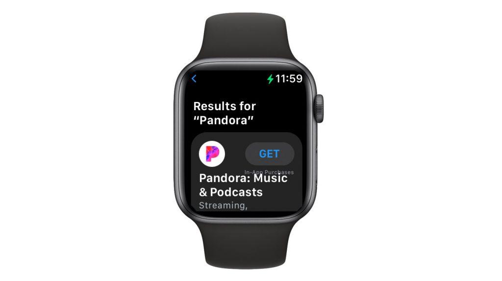 Install Pandora app on Apple Watch via the Apple Watch app store app