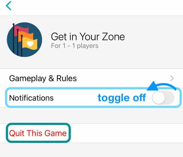 stop notices for Fitbit challenges like get in your zone in Fitbit app
