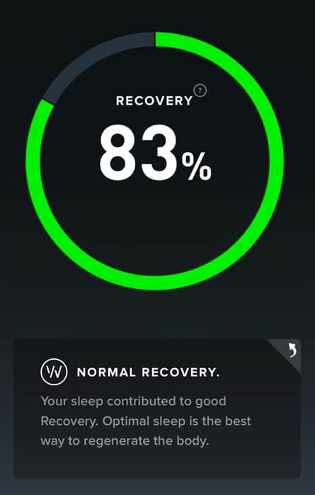 a good night's sleep indicates a good recovery score on whoop
