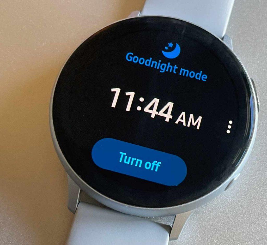 Samsung Galaxy watch goodnight mode on