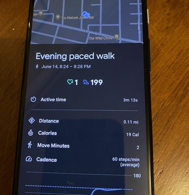 Google Fit Paced walking metrics