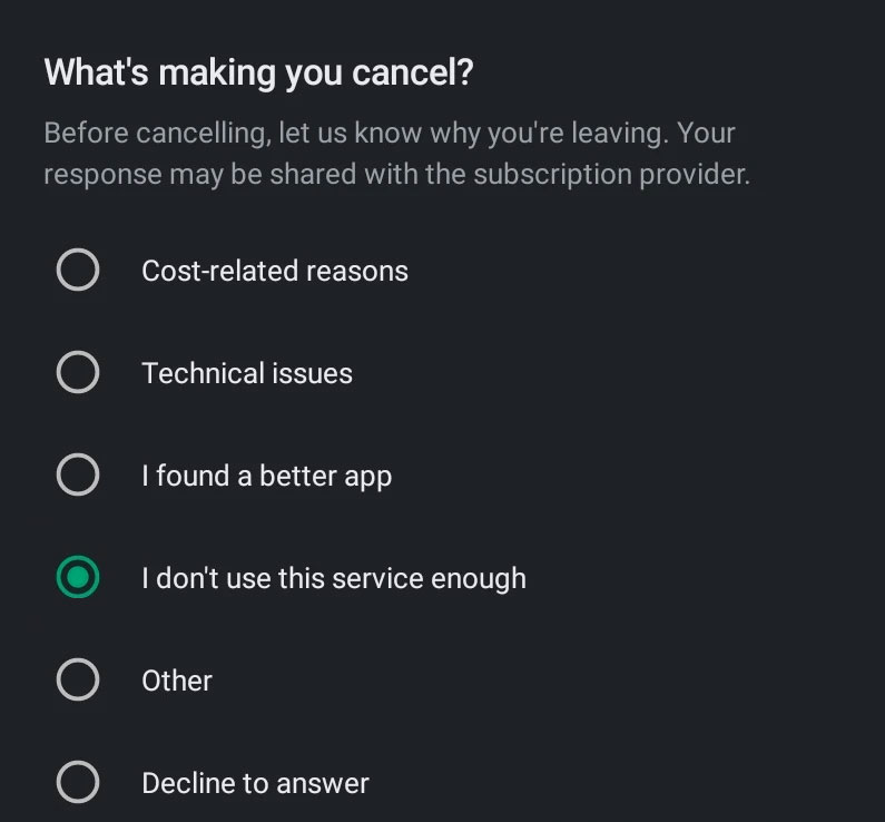 Why you are cancelling a subscription in Google Play Store