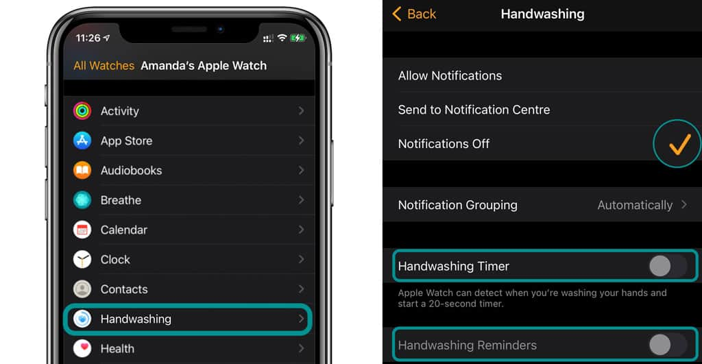 hand washing settings in Watch app iPhone for apple watch