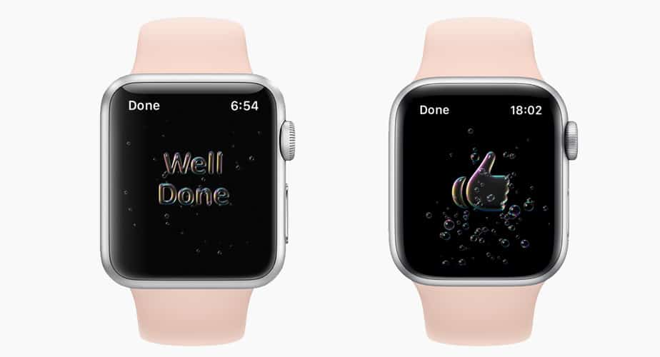 hand washing well done or thumbs up message on Apple Watch