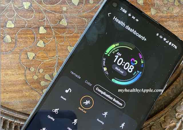 Health Dashboard on Galaxy watch app