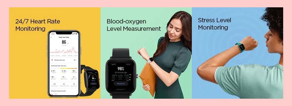Amazft Bip U series smartwatches health features