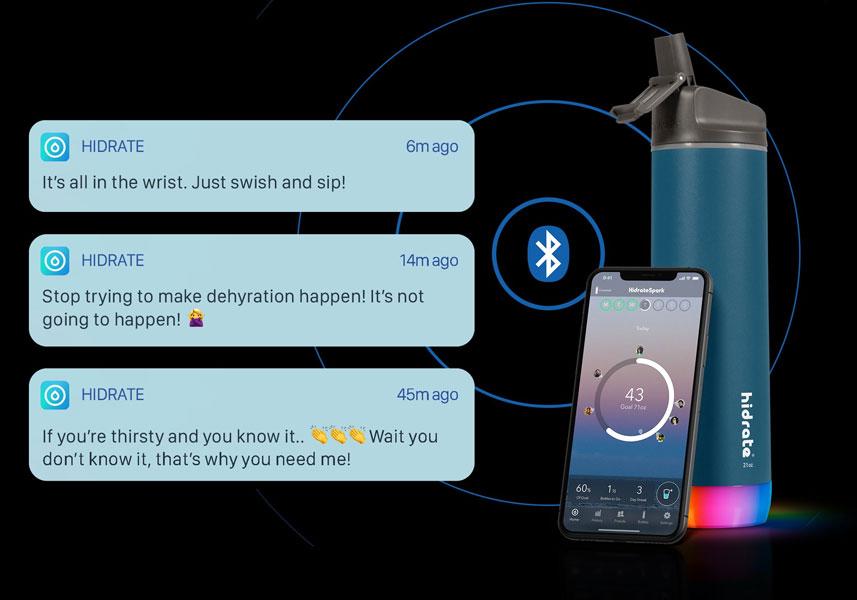 hidrate smart water bottle and app