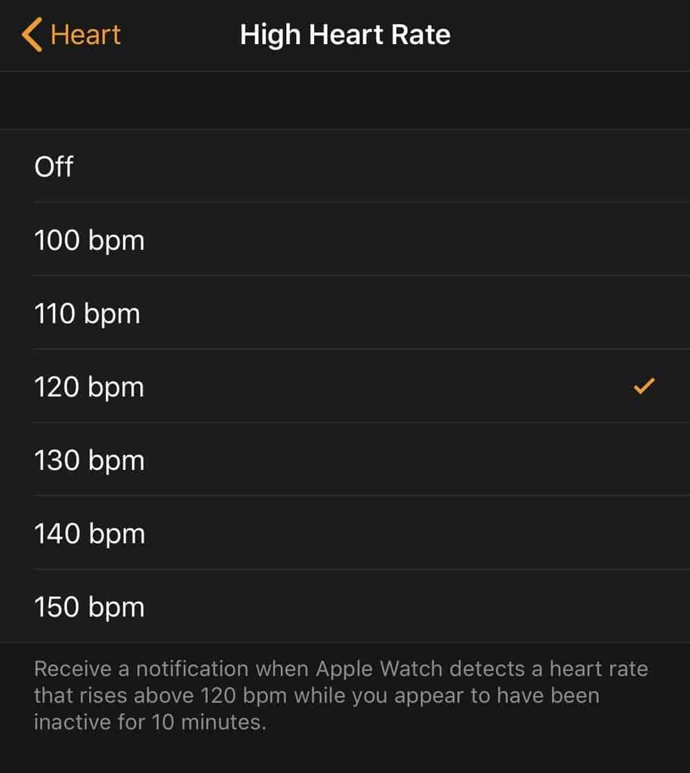 choose your high heart rate threshold for Apple Watch