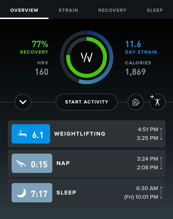details on WHOOP higher recovery score