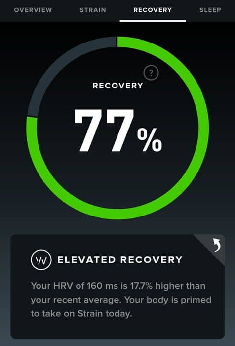 high WHOOP recovery score