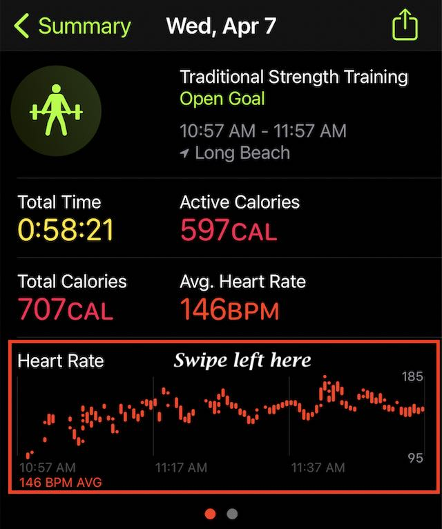 Check Recovery heart rate on apple watch