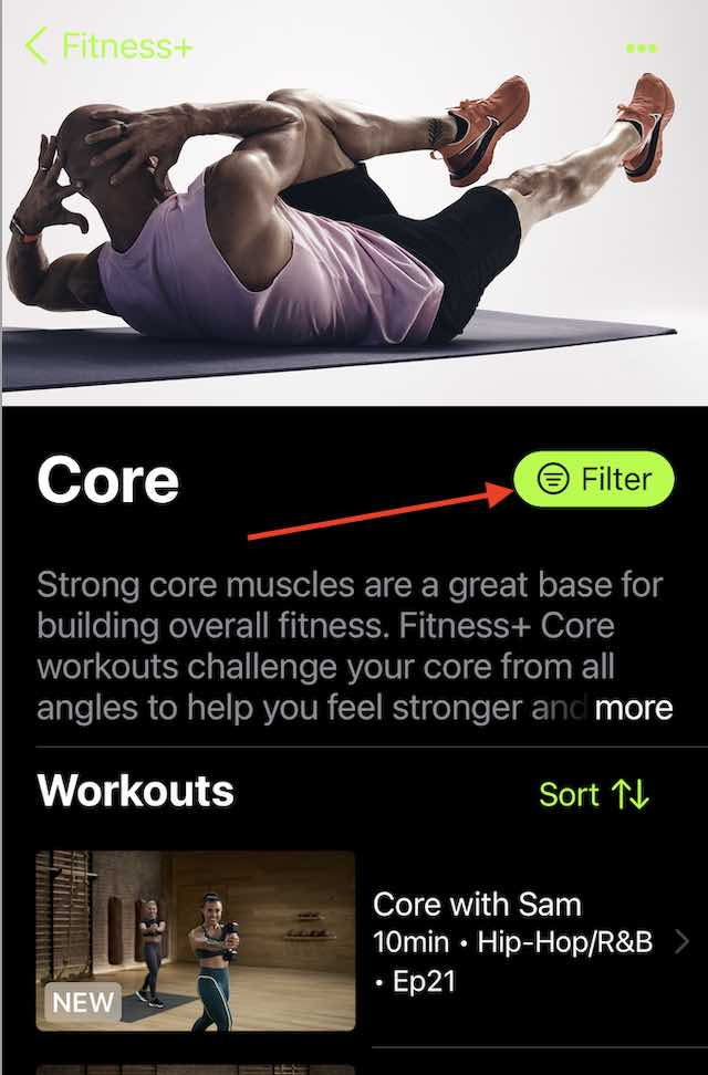How to Filter Apple Fitness+ workouts