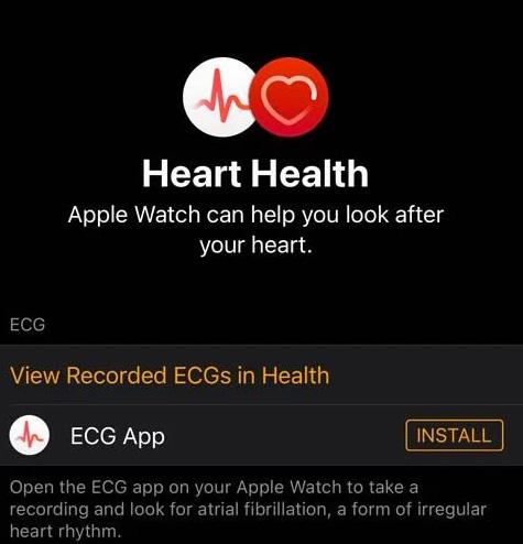 Apple Watch iPhone Watch app install ECG app