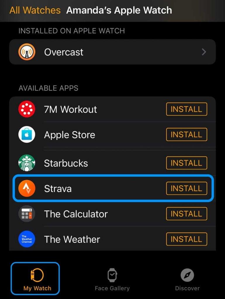 Apple Watch install Strava watch app