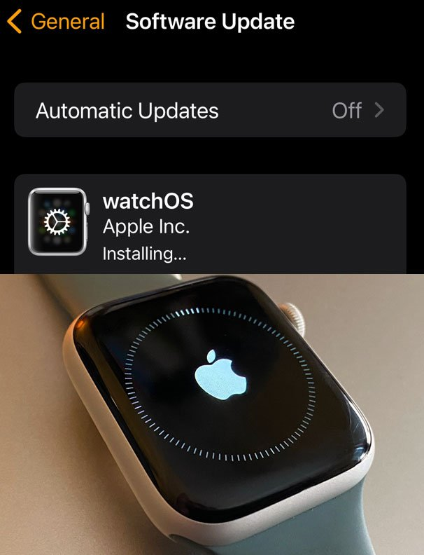 watchOS installing on Apple Watch