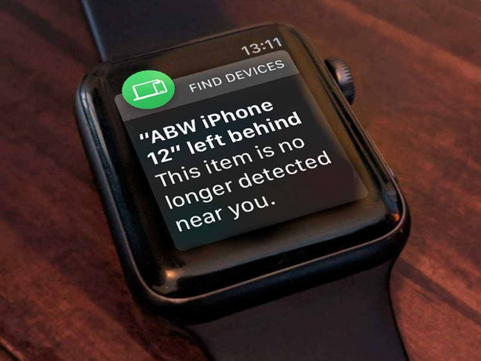 Apple Watch left behind notification