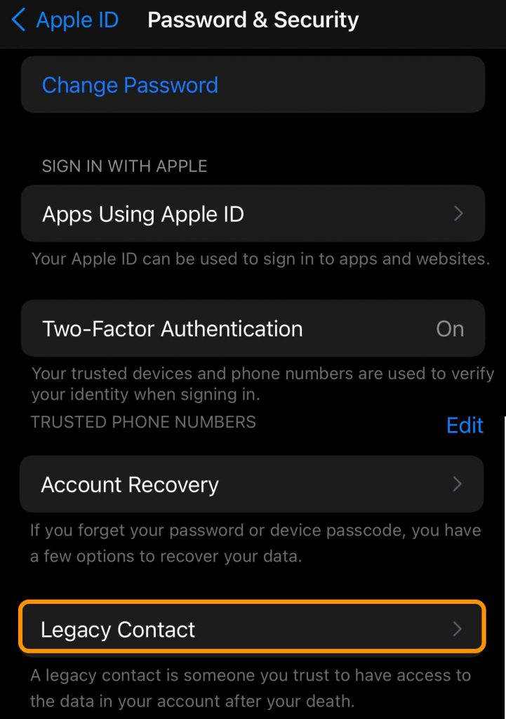 Legacy contacts for Apple ID on iPhone