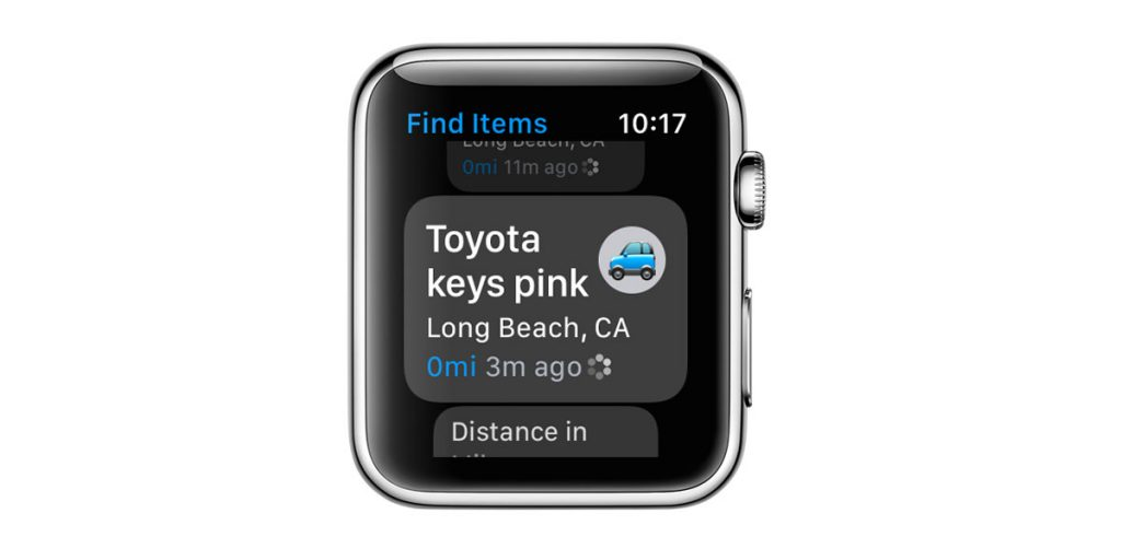locate an item using Find Items app for Apple Watch