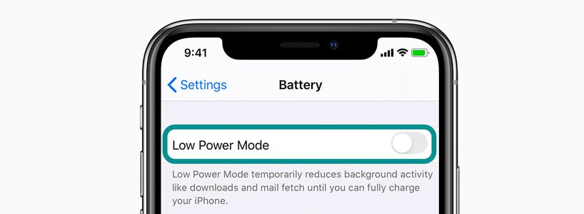 Toggle off iPhone Low Power mode