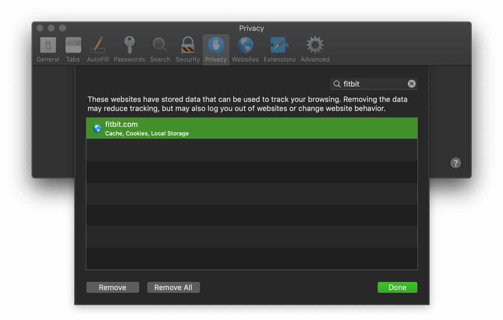 Safari on Mac remove Fitbit website data