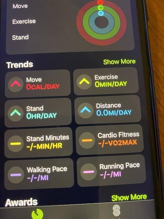 Fitness App main screen in iOS 14