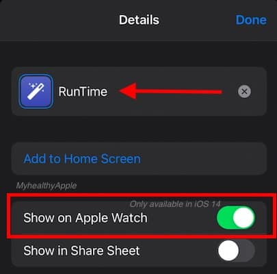 Convert iPhone shortcut to Apple Watch ready