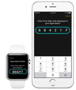 pairing codes for apple watch and iPhone