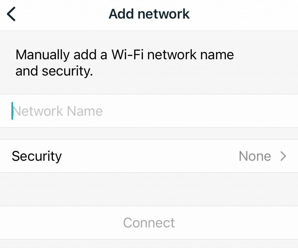 add a wifi network to the Fitbit app manually by typing in its information