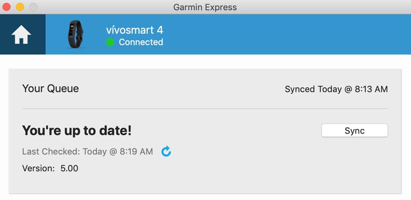 Garmin Express manual sync process