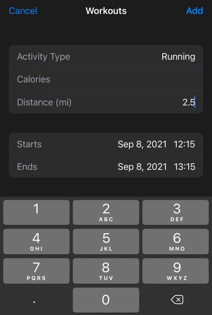 add in missing workout information to the Apple Health app