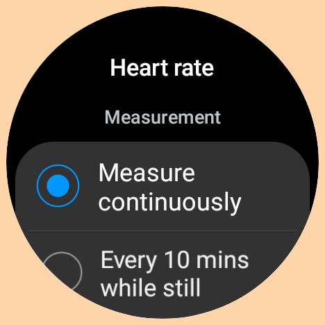 set heart rate to measure continuously on Samsung Galaxy Watch 4