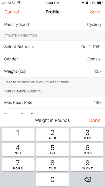 Strava weight profile for calories burned