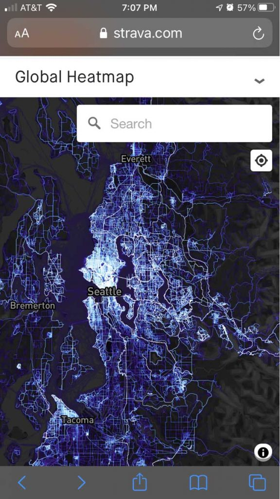 Strava global heat map on iPhone or Android using web browser