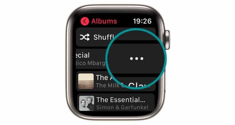 More button in Apple Watch music app