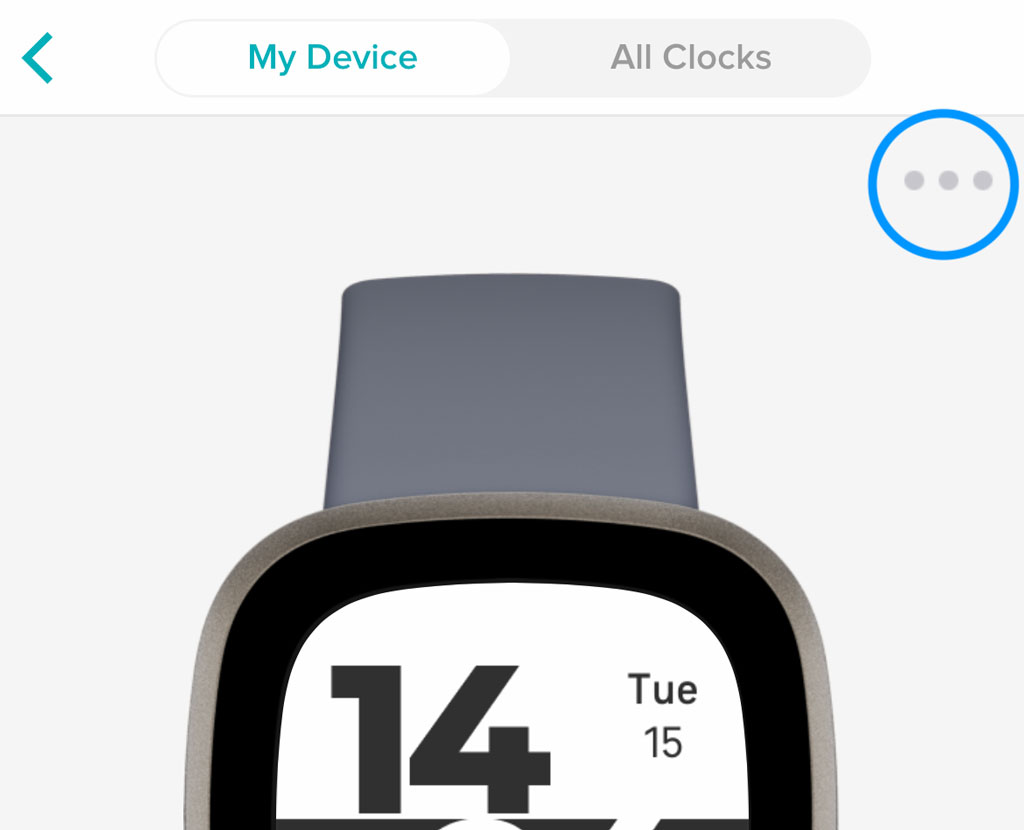 Fitbit app Clock Face More button for options and permission settings