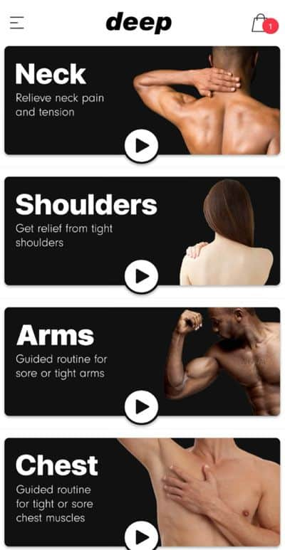 Deep app by MuscleGun to aide workout recovery