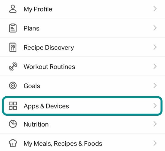 Apps and Devices connected to MyFitnessPal