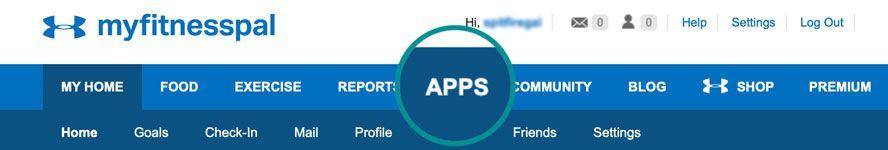APPS category in MyFitnessPal website