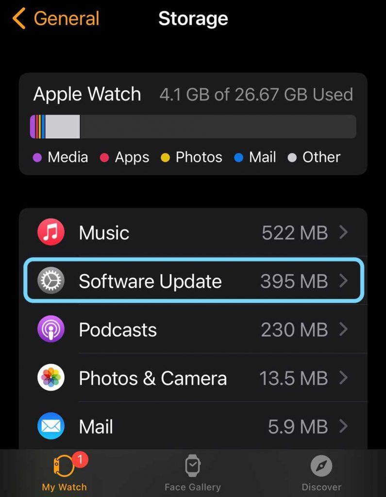 watchOS updates in Apple Watch storage